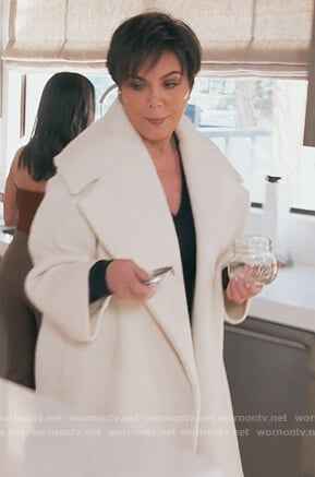 Kris's white oversized coat on Keeping Up with the Kardashians