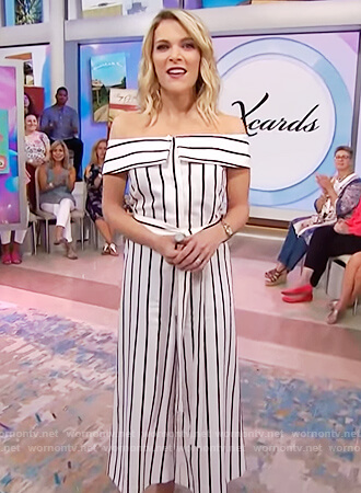 Megyn's striped off shoulder jumpsuit on Megyn Kelly Today