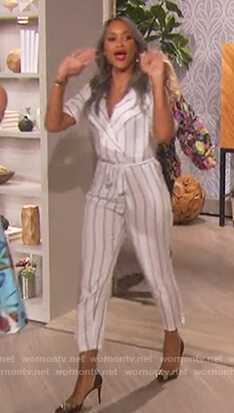 Eve's white striped wrap jumpsuit on The Talk