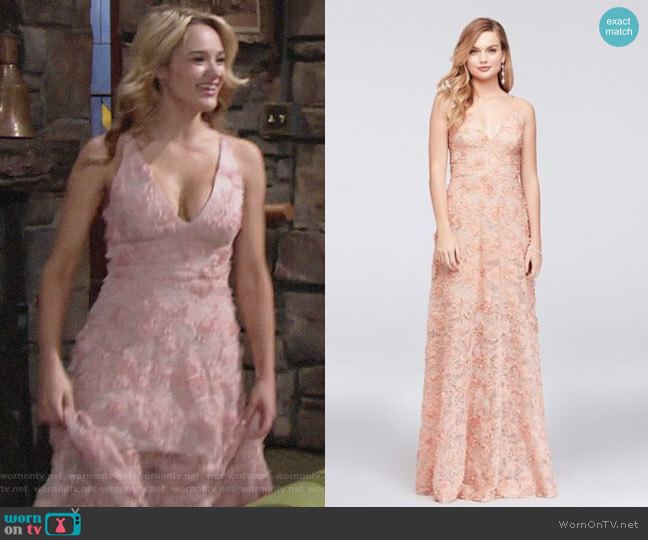 Xscape 3D Floral Applique Lace A-Line Gown worn by Summer Newman (Hunter King) on The Young & the Restless