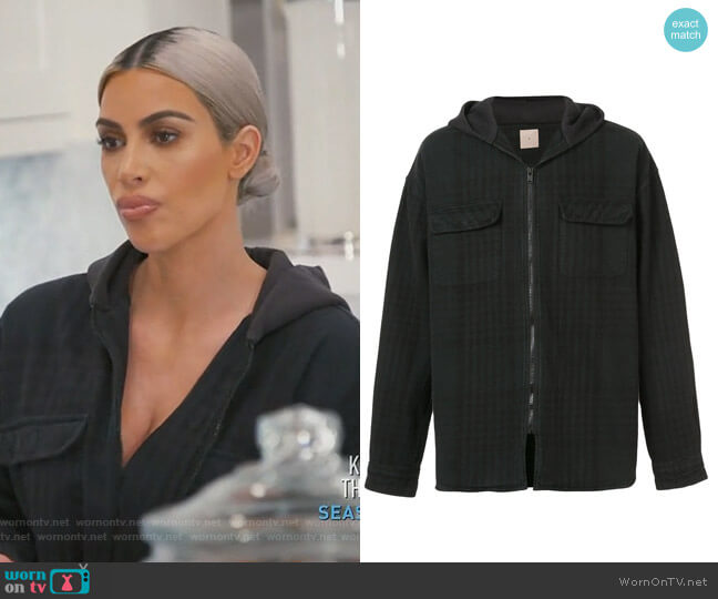 hooded flannel jacket by Yeezy worn by Kim Kardashian on Keeping Up with the Kardashians