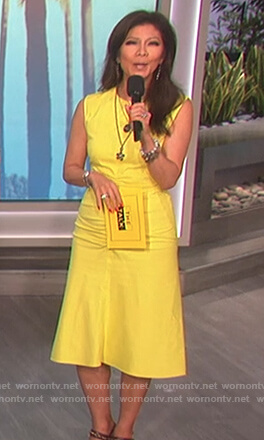 Julie's yellow ruched front dress on The Talk