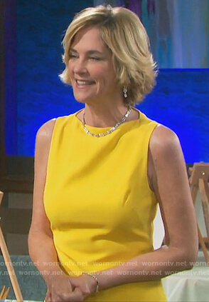 Eve's yellow sleeveless midi dress on Days of our Lives