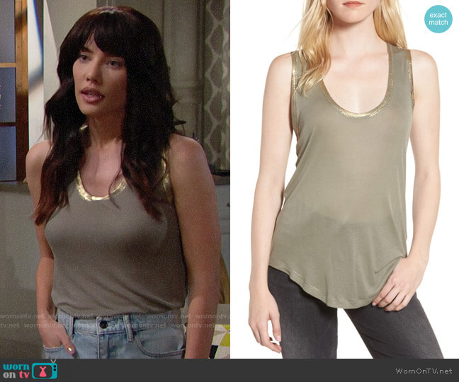 Zadig & Voltaire Tam Tank worn by Steffy Forrester (Jacqueline MacInnes Wood) on The Bold & the Beautiful