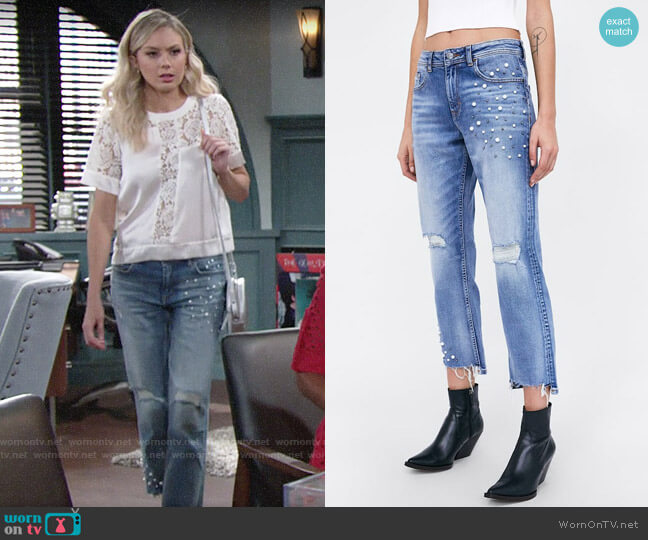 Zara Z1975 Jeans with Pearl Beads on the Hems worn by Abby Newman (Melissa Ordway) on The Young & the Restless