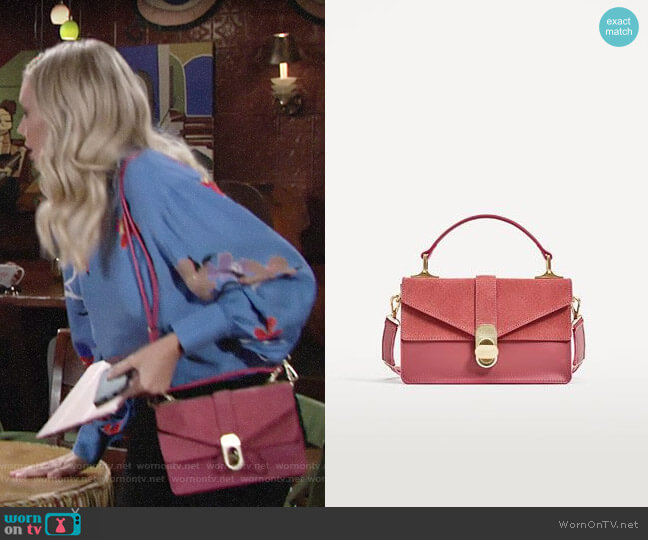 Zara City  Bag with Suede Flap worn by Melissa Ordway on The Young & the Restless