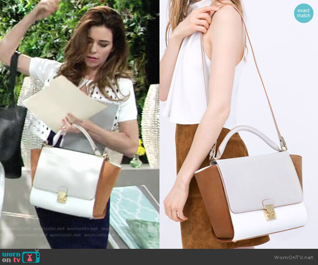 Zara Combined City Bag with Buckle worn by Amelia Heinle on The Young & the Restless