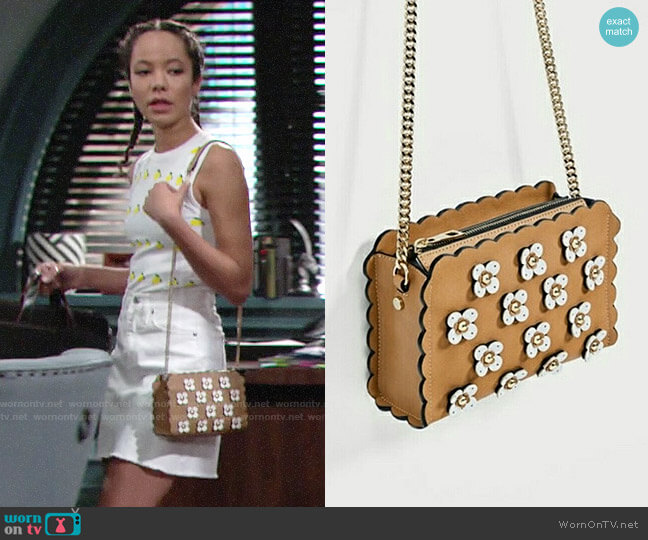 Floral Applique Crossbody Bag worn by Mattie Ashby (Lexie Stevenson) on The Young & the Restless