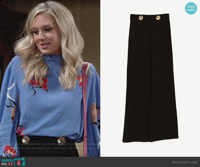 Zara Flowing Trousers worn by Melissa Ordway on The Young & the Restless