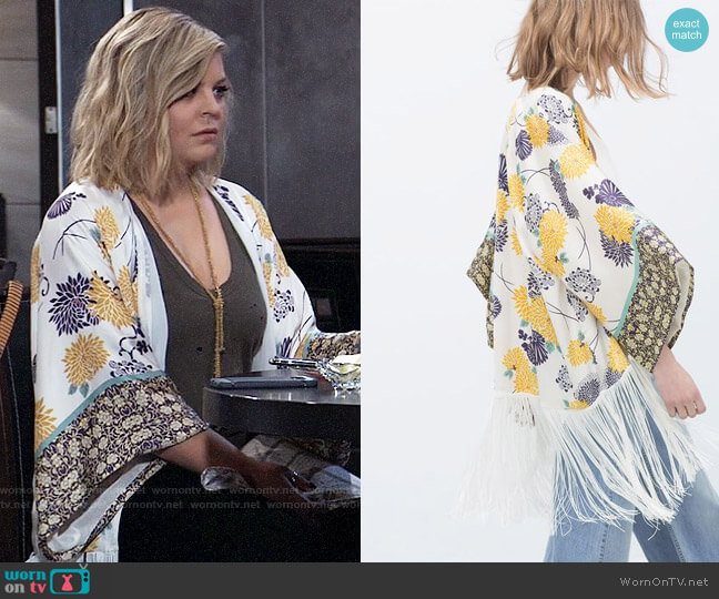 Zara Printed Kimono worn by Maxie Jones (Kirsten Storms) on General Hospital