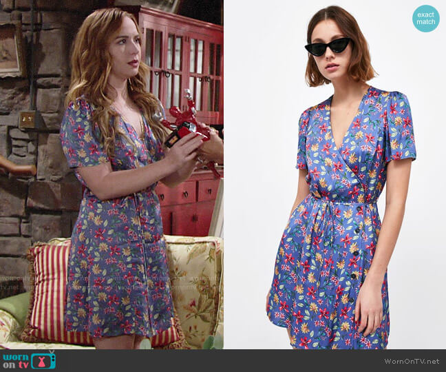 Zara Printed Satin Dress worn by Camryn Grimes on The Young & the Restless