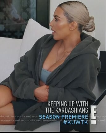 Kim's khaki zip front hoodie on Keeping Up with the Kardashians