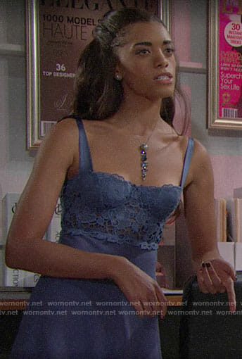 Zoe's purple lace bustier on The Bold and the Beautiful