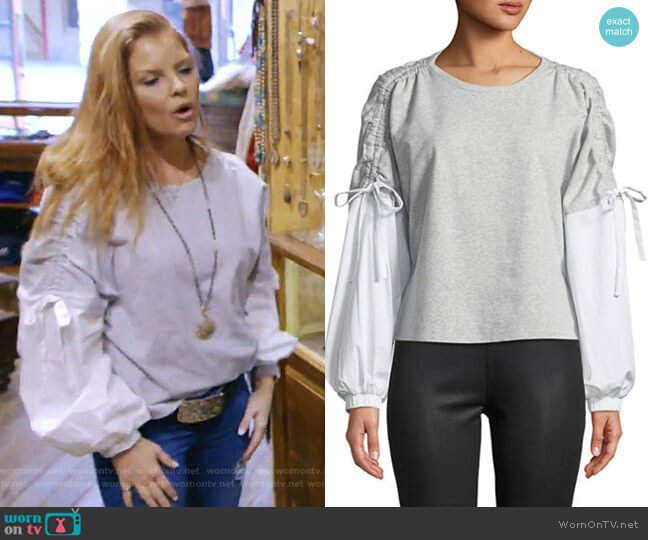 Drawstring Long-Sleeve Blouse by 1.State worn by Brandi Redmond on The Real Housewives of Dallas