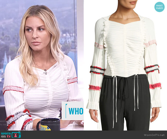 Pleated Stripes Top by 3.1 Phillip Lim worn by Morgan Stewart on E! News