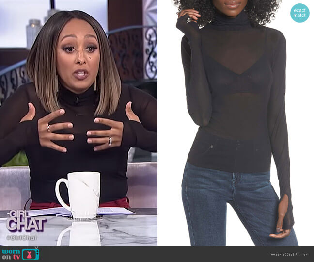 Zadie Semi Sheer Turtleneck by AFRM worn by Tamera Mowry  on The Real
