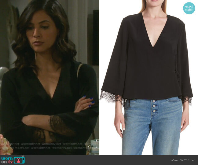 Riona Lace Top by ALC worn by Gabi Hernandez (Camila Banus) on Days of our Lives