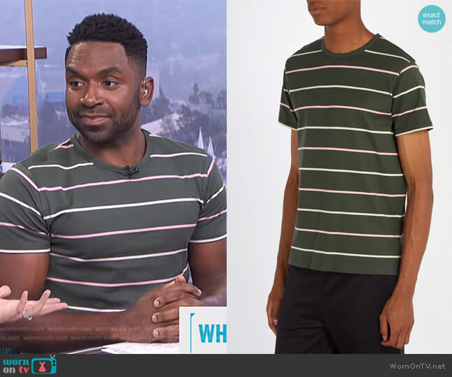 Jimmy Wide-stripe T-Shirt by APC worn by Justin Sylvester  on E! News
