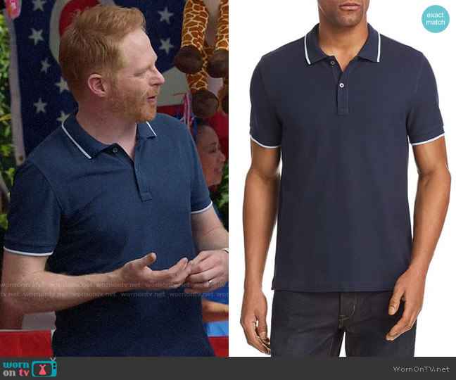 ATM Anthony Thomas Melillo Tipped Pique Polo worn by Mitchell Pritchett (Jesse Tyler Ferguson) on Modern Family
