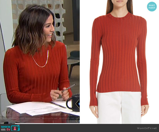 Ribbed Wool Blend Sweater by Acne Studios worn by Erin Lim  on E! News