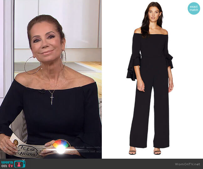 Statement Sleeve Stretch Crepe Jumpsuit by Adrianna Papell  worn by Kathie Lee Gifford  on Today