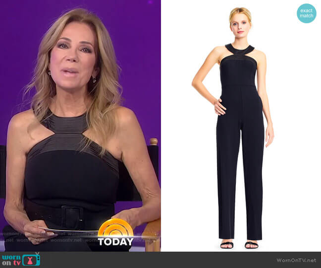 Halter Crepe Jumpsuit with Top Stitch Neckline by Adrianna Papell worn by Kathie Lee Gifford  on Today