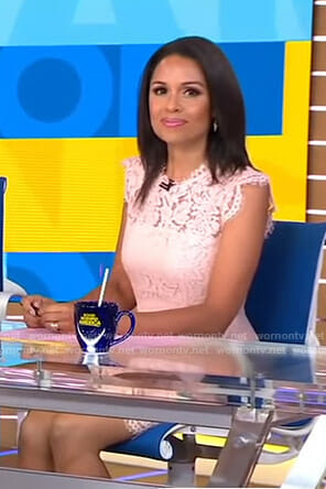 Adrienne's pink scalloped lace dress on Good Morning America