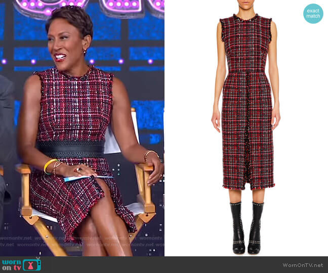 Sleeveless Tweed Dress by Alexander McQueen worn by Robin Roberts  on Good Morning America