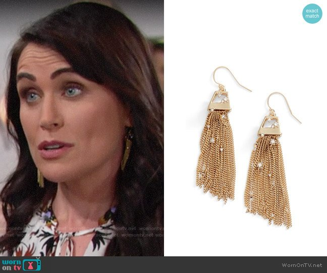 Alexis Bittar Tassel Drop Earrings worn by Quinn Fuller (Rena Sofer) on The Bold & the Beautiful