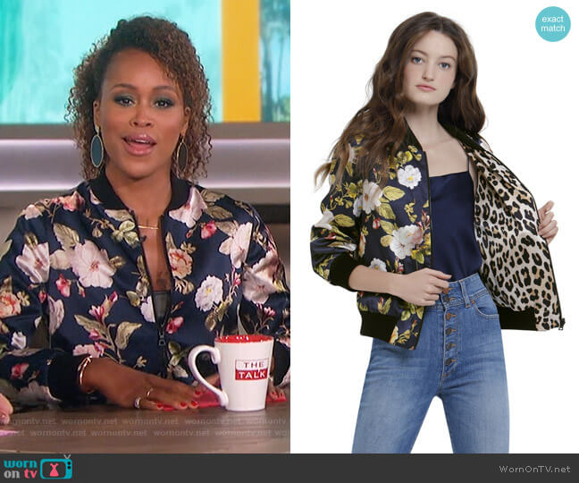 Lonnie Reversible Bomber by Alice + Olivia worn by Eve on The Talk