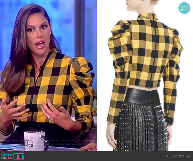 Brenna Puff Sleeve Top by Alice + Olivia worn by Abby Huntsman on The View
