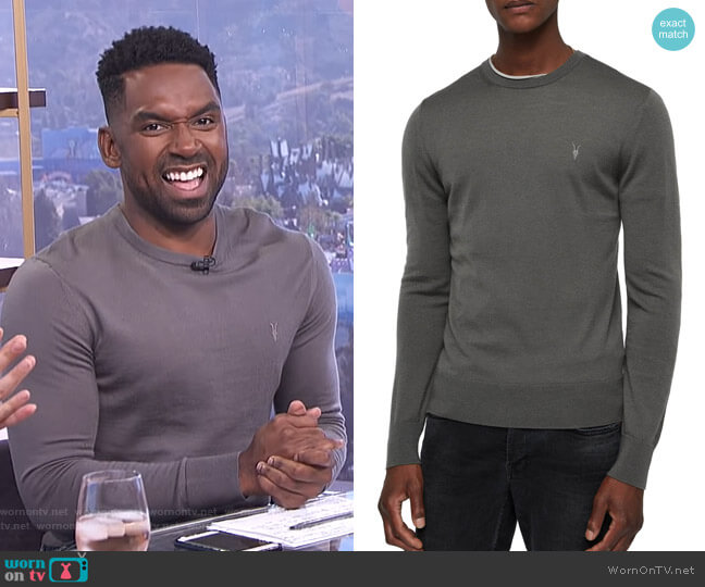 Mode Slim Fit Merino Wool Sweater by All Saints worn by Justin Sylvester on E! News