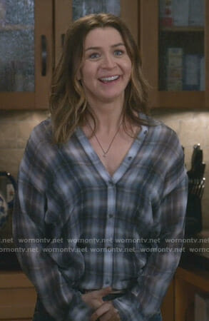 Amelia's plaid blouse on Grey's Anatomy