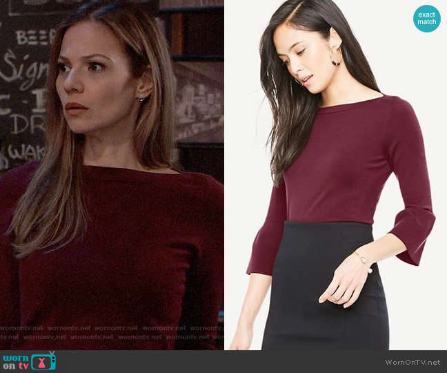 Ann Taylor Bell Sleeve Boatneck Sweater worn by Kim Nero (Tamara Braun) on General Hospital