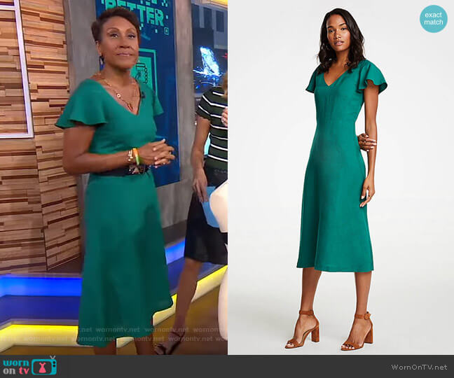 77e935c98d Flutter Sleeve Linen Blend Midi Dress by Ann Taylor worn by Robin Roberts  (Robin Roberts