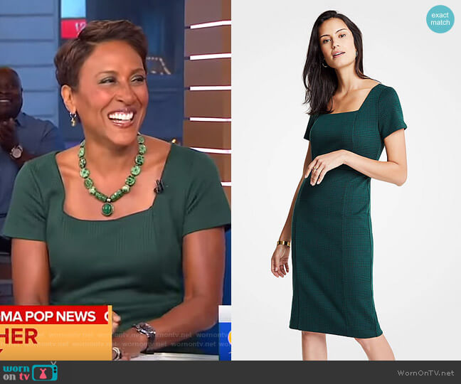 Plaid Square Neck Sheath Dress by Ann Taylor worn by Robin Roberts  on Good Morning America