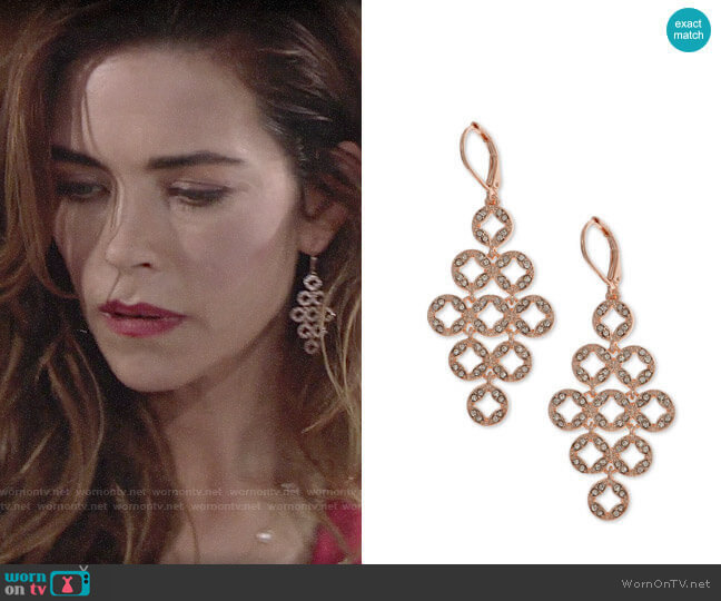 Anne Klein Pave Chandelier Earrings worn by Victoria Newman (Amelia Heinle) on The Young & the Restless