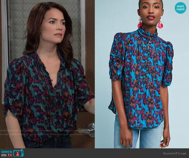 Anthropologie Maeve Printed Henley Blouse worn by Elizabeth Webber (Rebecca Herbst) on General Hospital