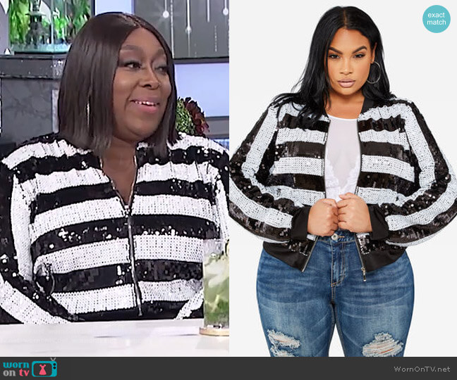 Striped Sequin Bomber Jacket by Ashley Stewart worn by Loni Love on The Real