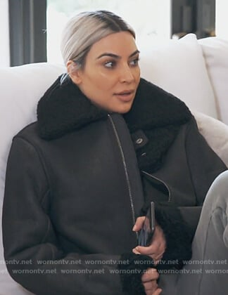 Kim's black leather jacket on Keeping Up with the Kardashians