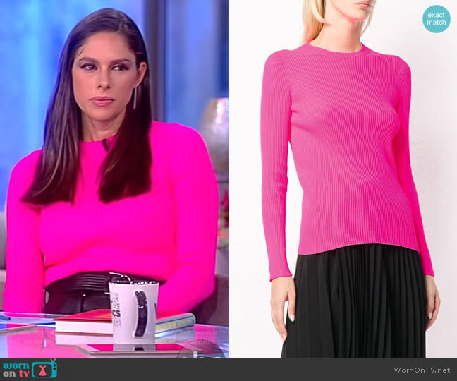 Neon ribbed-knit top by Balenciaga worn by Abby Huntsman  on The View