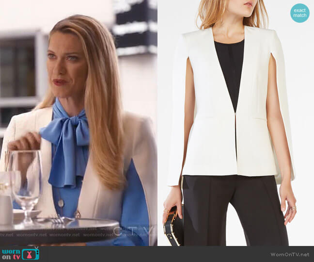Upas Cape by Bcbgmaxazria worn by Sydney (Heather Doerksen) on Take Two