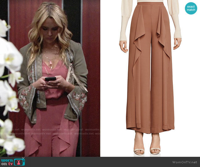 Bcbgmaxazria Jackee Ruffled Pants worn by Summer Newman (Hunter King) on The Young & the Restless