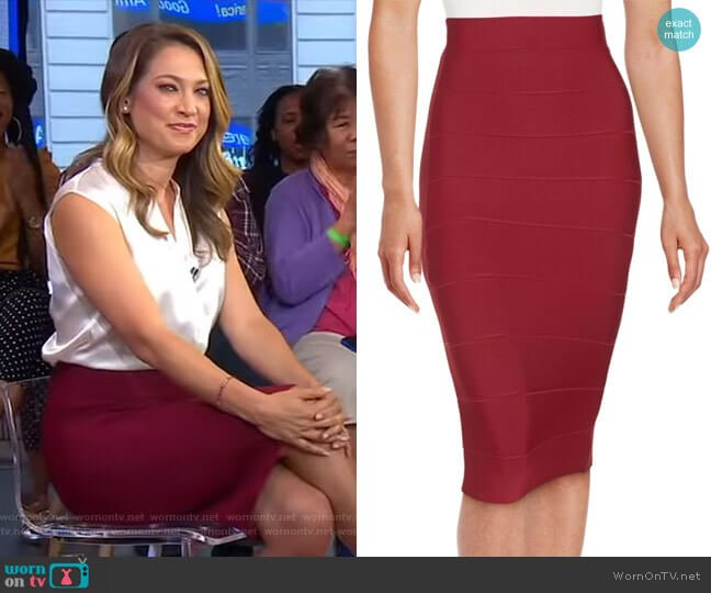 Leger Skirt by Bcbgmaxazria worn by Ginger Zee on Good Morning America