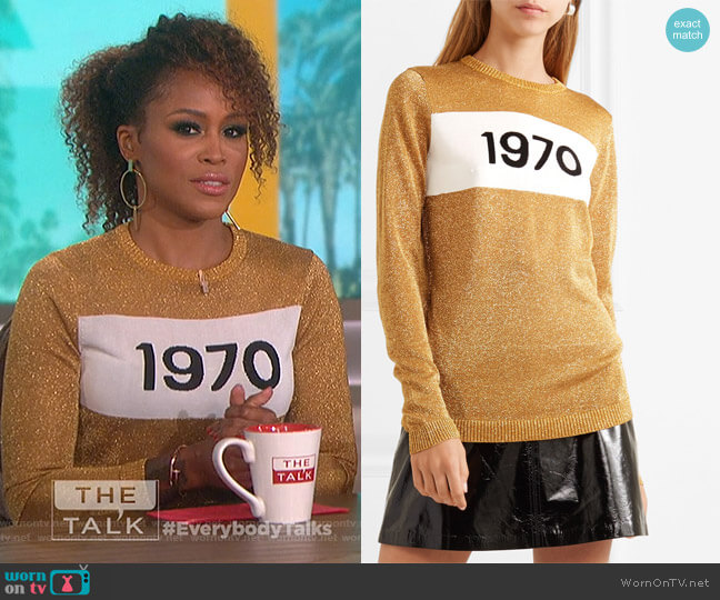 1970 Sparkle Graphic Sweater by Bella Freud worn by Eve  on The Talk
