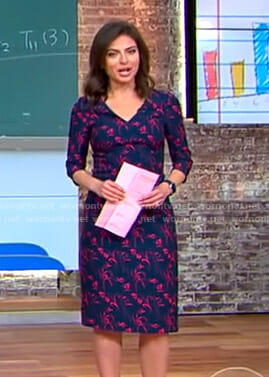 Bianna's navy floral v-neck dress on CBS This Morning
