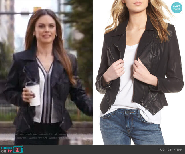 Faux Leather Moto Jacket by BlankNYC worn by Rachel Bilson on Take Two