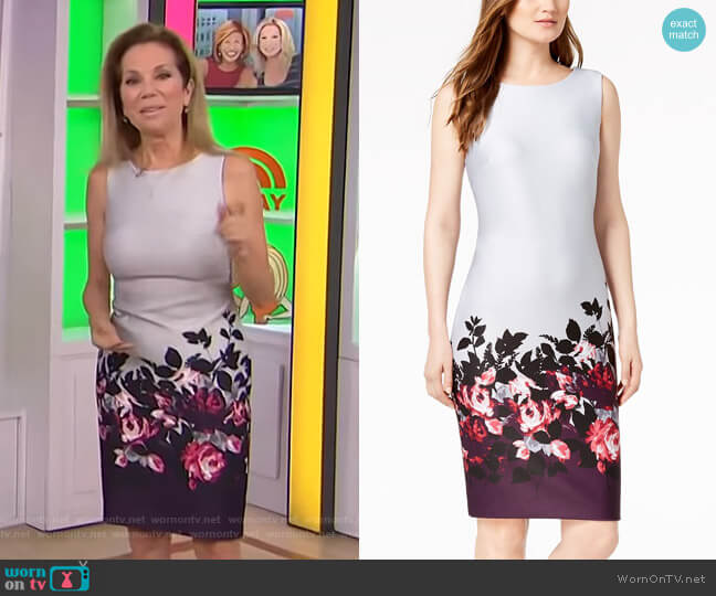 Border-Print Scuba Sheath Dress by Calvin Klein worn by Kathie Lee Gifford on Today