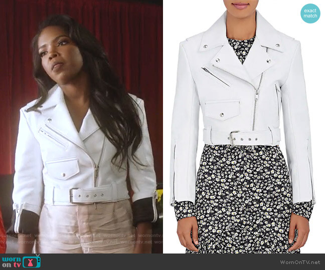 Leather Moto Jacket by Calvin Klein 205W39NYC  worn by Alexandra Crane (Ryan Destiny) on Star