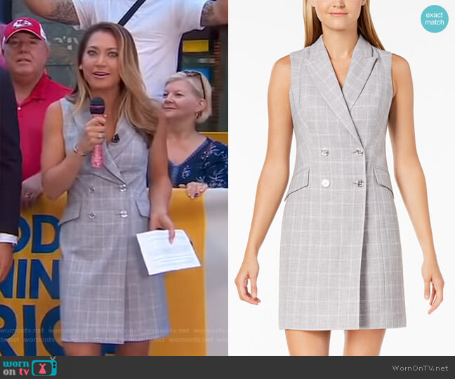 Plaid Trench Dress by Calvin Klein worn by Ginger Zee on Good Morning America